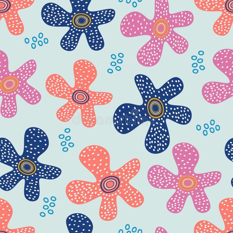 Hand getrokken bloemenpatroon De leuke tekeningsweide bloeit Vector naadloze achtergrond vector illustratie