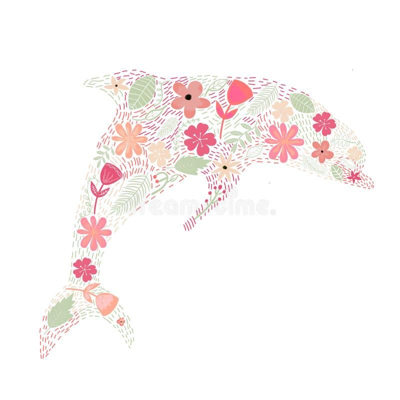 Hand getrokken bloemensamenstelling stock illustratie