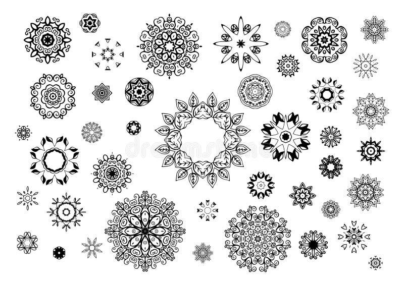 Hand getrokken bloemensymbolen voor de paginadecoratie stock illustratie