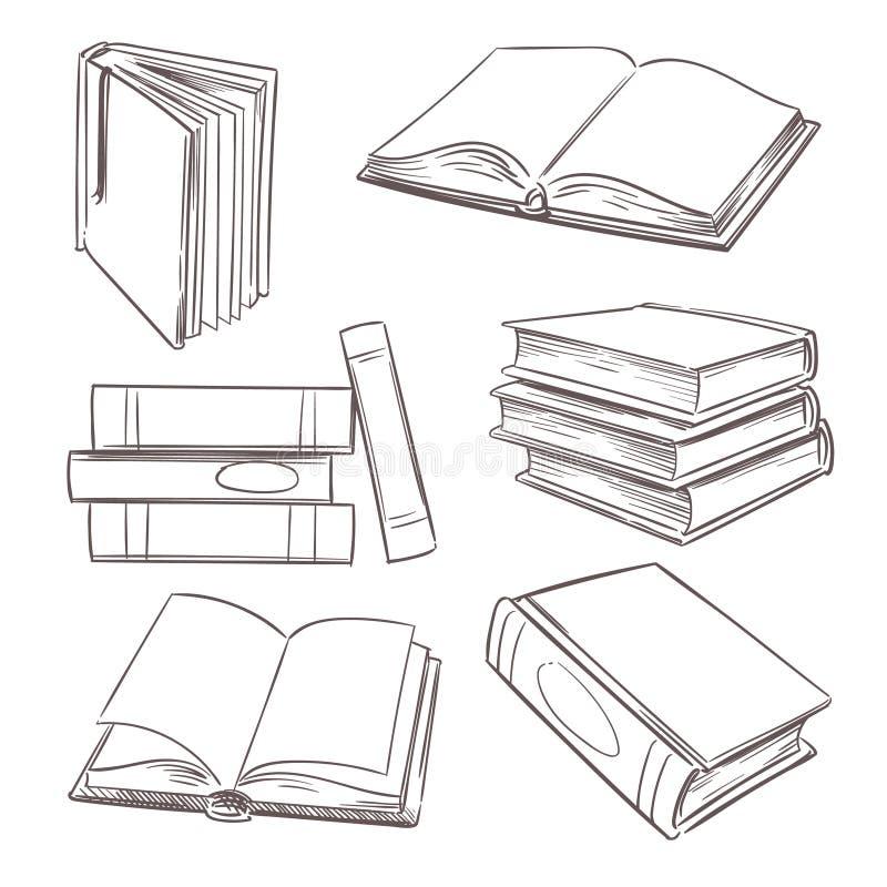 Hand getrokken boeken, document tijdschrift en schoolhandboeken De stapels van het schetsboek Krabbelboekhandel en onderwijs vect stock illustratie