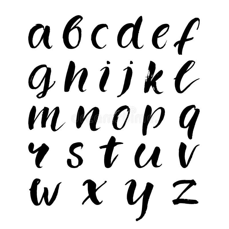 Hand getrokken borstelalfabet in kleine letters Zwarte Vector stock illustratie