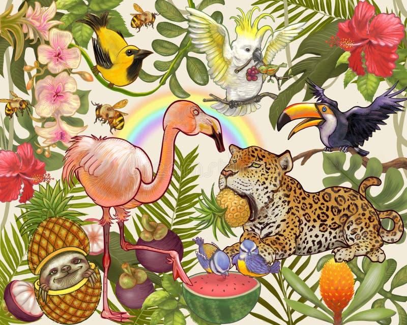 Hand getrokken bos en dier vector illustratie
