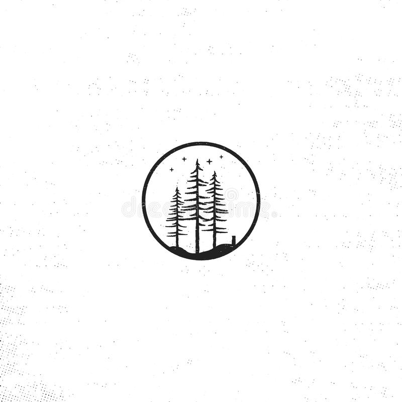 Hand getrokken boskentekenconcept De geweven vectorillustratie van pijnboombomen met sterren Geïsoleerdj op witte achtergrond vector illustratie