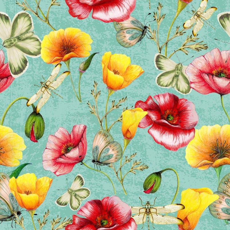Hand getrokken botanisch naadloos patroon van papavers, insecten op grungeachtergrond royalty-vrije illustratie