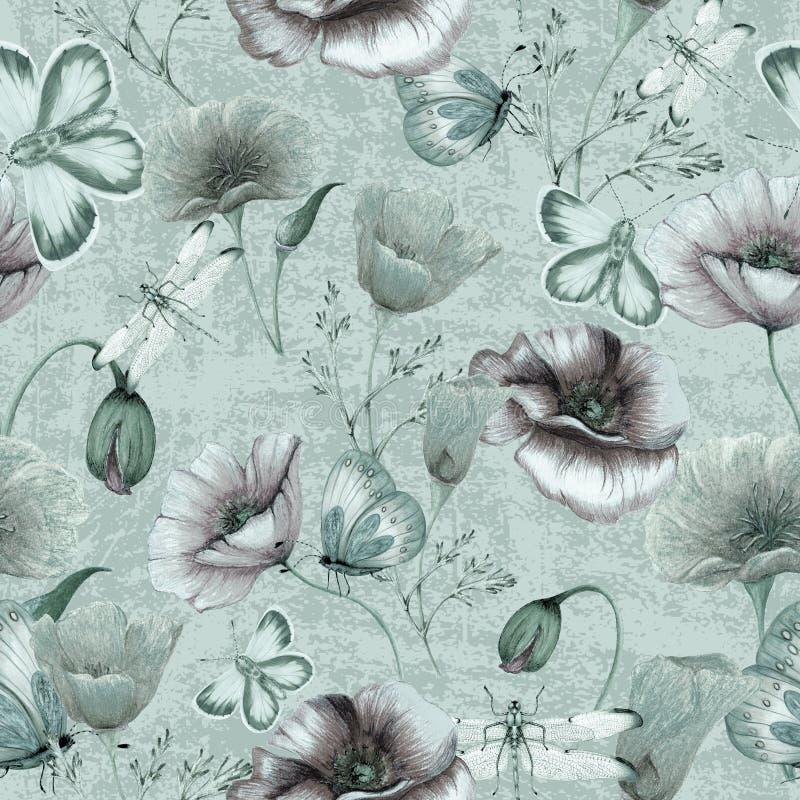 Hand getrokken botanisch naadloos patroon van papavers, insecten op grungeachtergrond stock illustratie