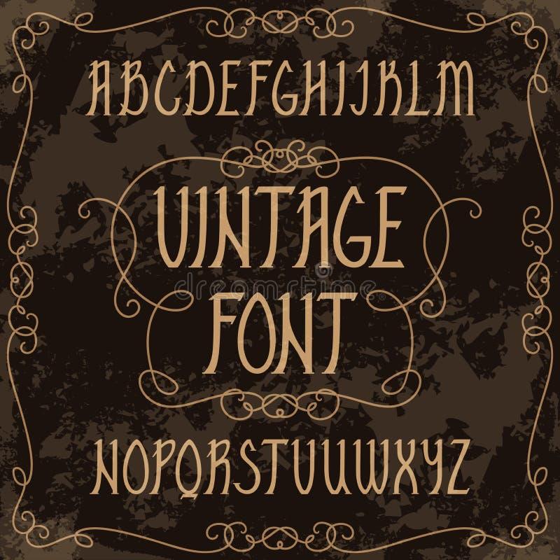 Hand getrokken bovenleer - gevalalfabet Uitstekende met de hand geschreven doopvont in gotische stijl royalty-vrije illustratie