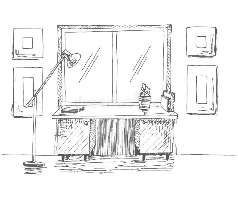 Hand getrokken bureau voor het venster Volgende staande lamp Vectorillustratie in schetsstijl royalty-vrije stock afbeeldingen