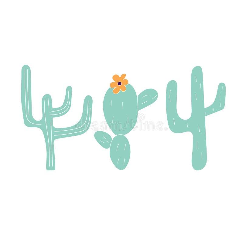 Hand Getrokken Cactuspictogrammen stock illustratie