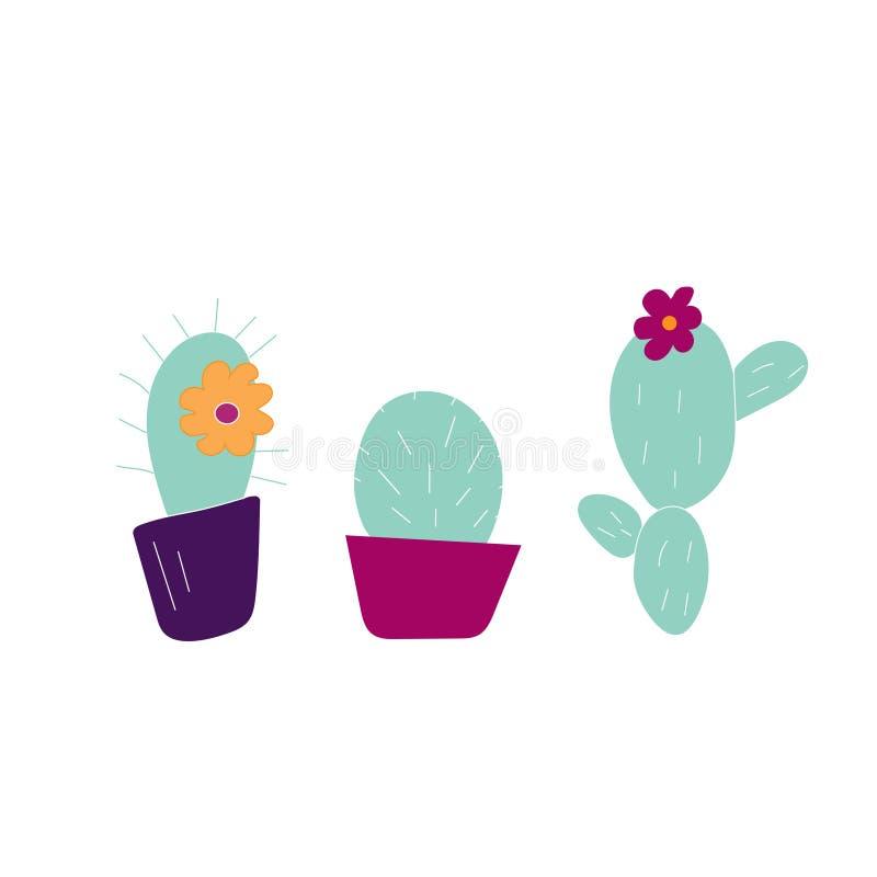 Hand Getrokken Cactuspictogrammen royalty-vrije illustratie