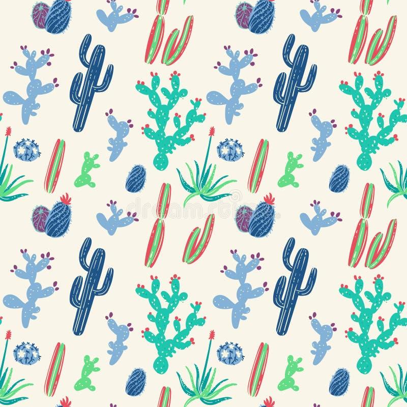Hand getrokken cactussen naadloos patroon vector illustratie