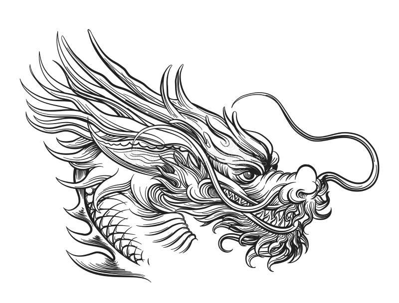Hand getrokken Chinees draakhoofd vector illustratie