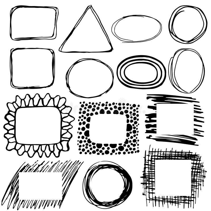 Hand getrokken cirkel, vierkant, driehoeksbanners stock illustratie