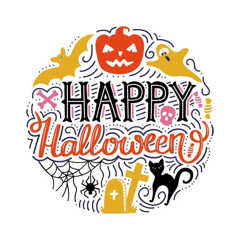 Hand getrokken cirkeldruk met het van letters voorzien Gelukkig Halloween en krabbelspompoen, kat, knuppel, spook stock illustratie