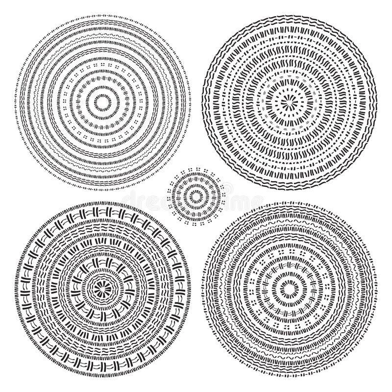 Hand getrokken Cirkelpatroon Vector Indisch decoratief patroon vector illustratie