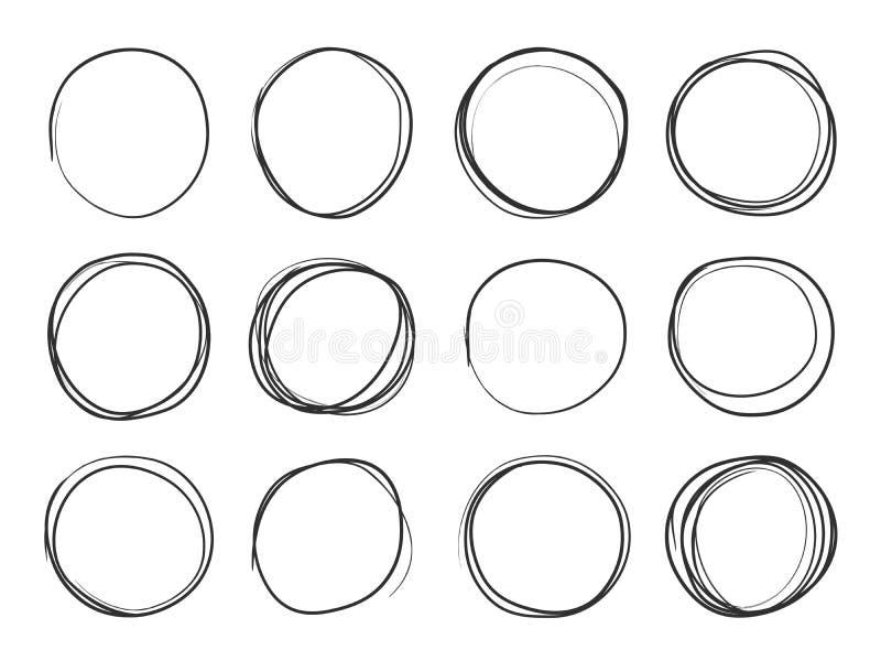 Hand getrokken cirkels Ronde krabbellijnen, cirkelschetshoogtepunten Cirkelvector ge?soleerde reeks vector illustratie