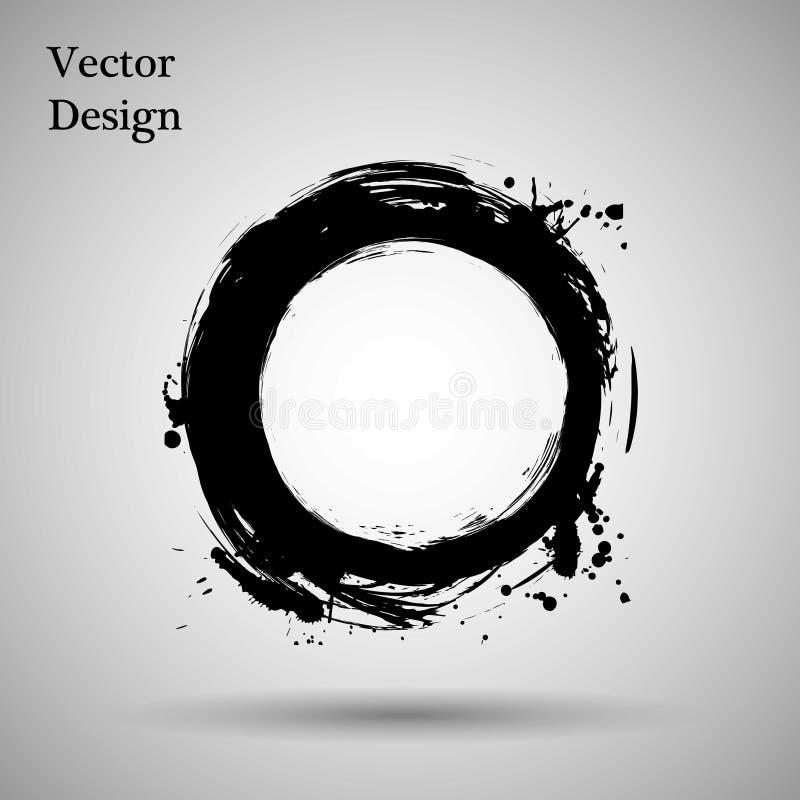 Hand getrokken cirkelvorm etiket, het element van het embleemontwerp Borstel abstracte golf Zwart enso zen symbool Vector illustr royalty-vrije illustratie