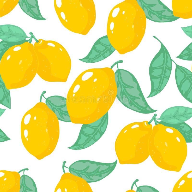 Hand getrokken citroenpatroon Naadloze druk van het citroen de tropische fruit, gele bloemen de zomertextuur Vectorcitrusvruchten stock illustratie
