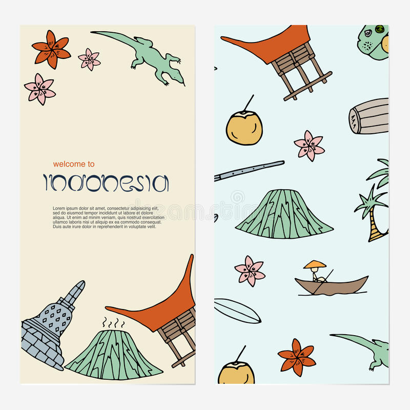 Hand getrokken concept met symbolen van Indonesië vector illustratie