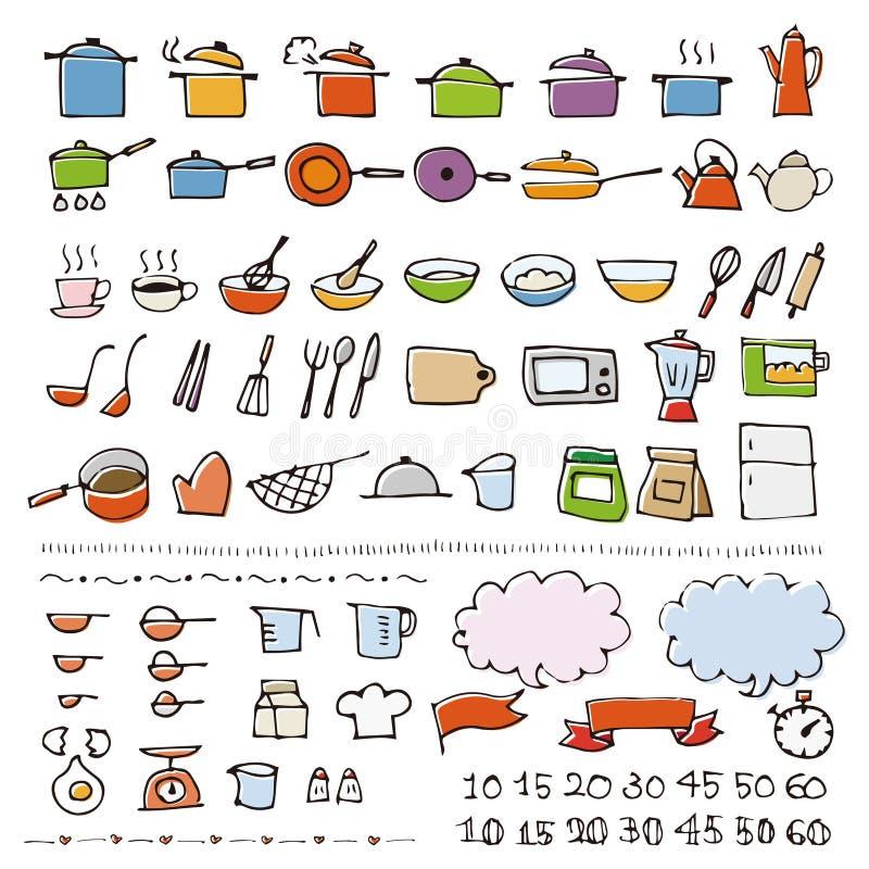 Hand getrokken cookware schetspictogram stock illustratie