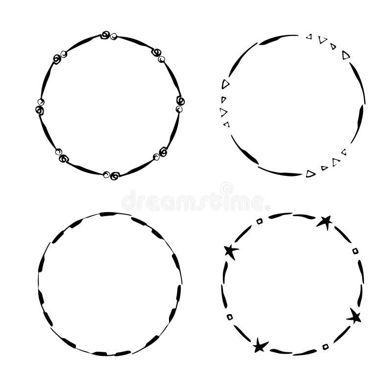 Hand getrokken creatieve cirkel voor embleem, etiket, het brandmerken stock illustratie