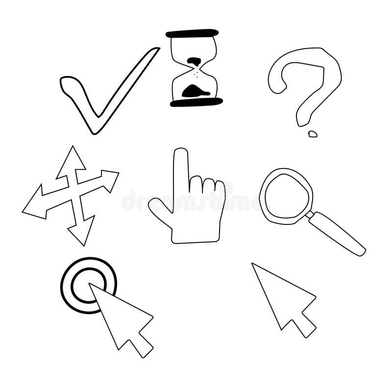 Hand getrokken curseurpictogrammen De pictogrammen van de schetsmuis cursore stock illustratie