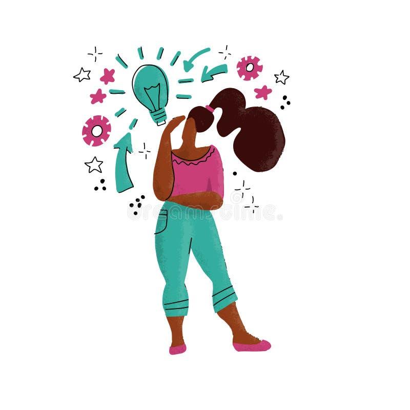 Hand getrokken dame geworden idee Vrouw die idee, gloeilamp als symbool van inzicht hebben Meisje die zich onder vraag, uitroepte royalty-vrije illustratie