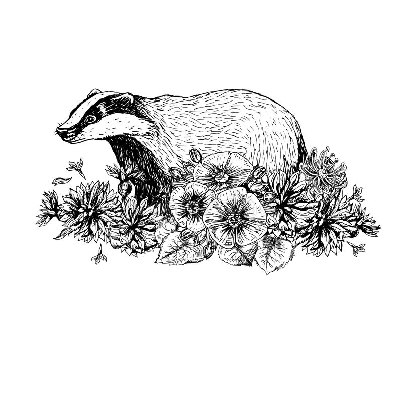 Hand getrokken das met bloemen Uitstekende stijl Af:drukken voor t-shirt Tatoegering Design royalty-vrije illustratie