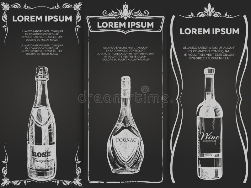 Hand getrokken de bannersmalplaatje van alcoholdranken royalty-vrije illustratie