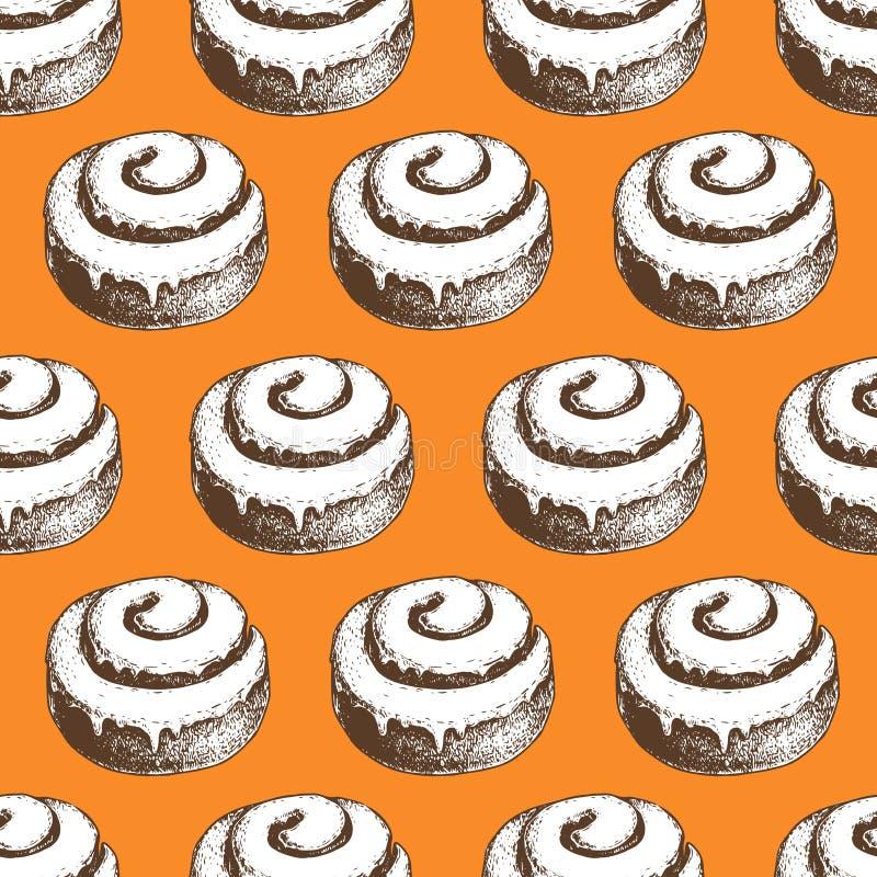 Hand getrokken de broodjes naadloos patroon van het kaneelbroodje Oranje Achtergrond royalty-vrije illustratie