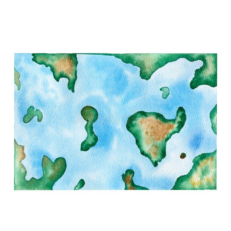 Hand getrokken de kaartillustratie van de waterverfwereld royalty-vrije illustratie