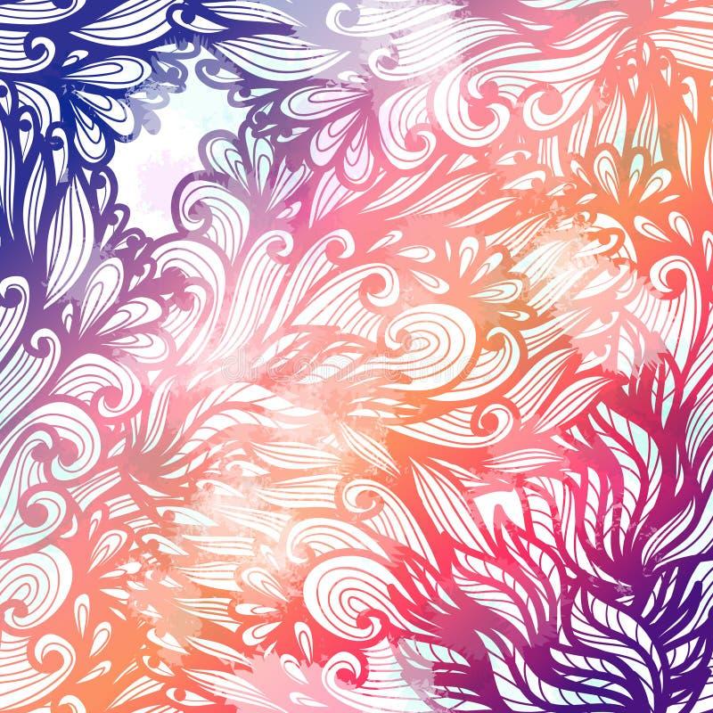 Hand getrokken de kaartontwerp van de gradiënt roze en blauw bloemenuitnodiging royalty-vrije illustratie