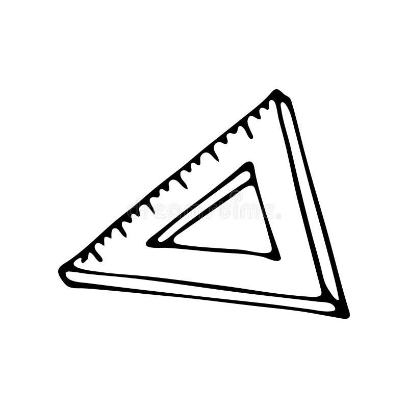 Hand getrokken de krabbelpictogram van de heersersdriehoek Hand getrokken zwarte schets stock illustratie