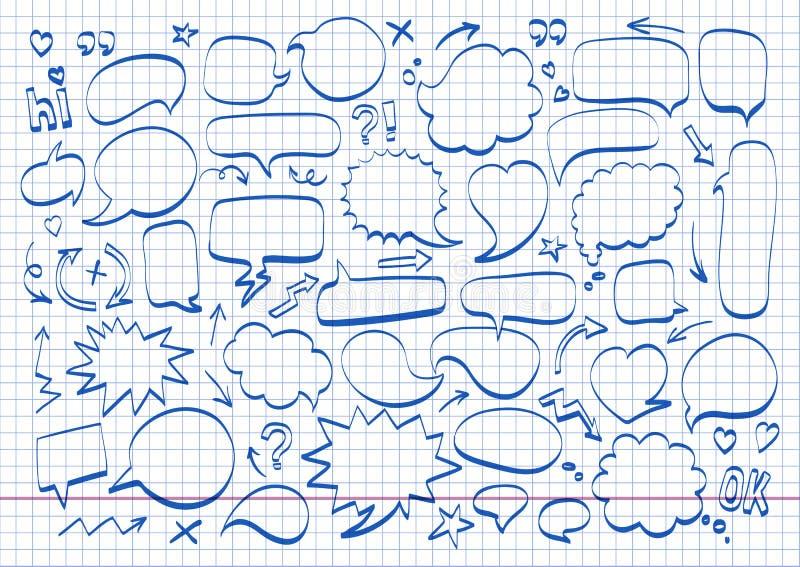 Hand getrokken de krabbelpictogram van de toespraakbel Tekeningsnotitieboekje, beeldverhaalontwerp stock illustratie