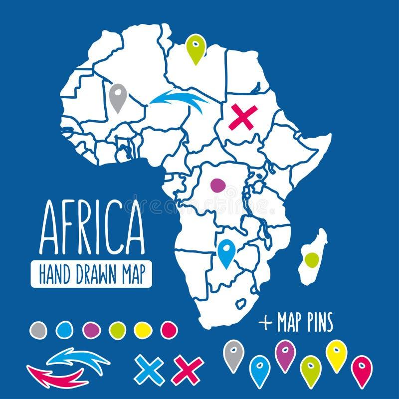 Hand getrokken de reiskaart van Afrika met speldenvector stock illustratie