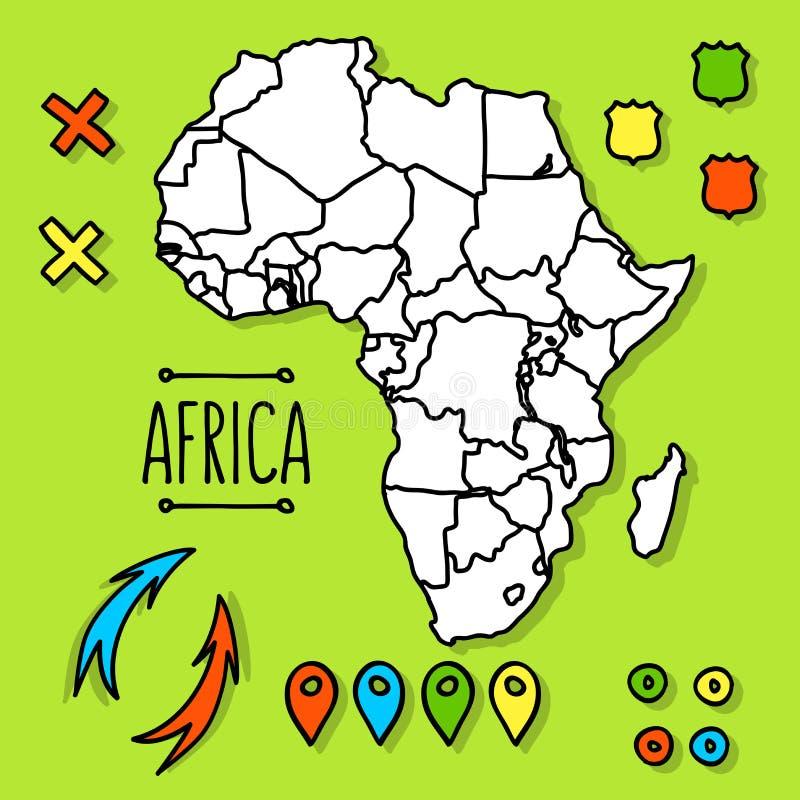 Hand getrokken de reiskaart van Afrika met speldenvector vector illustratie