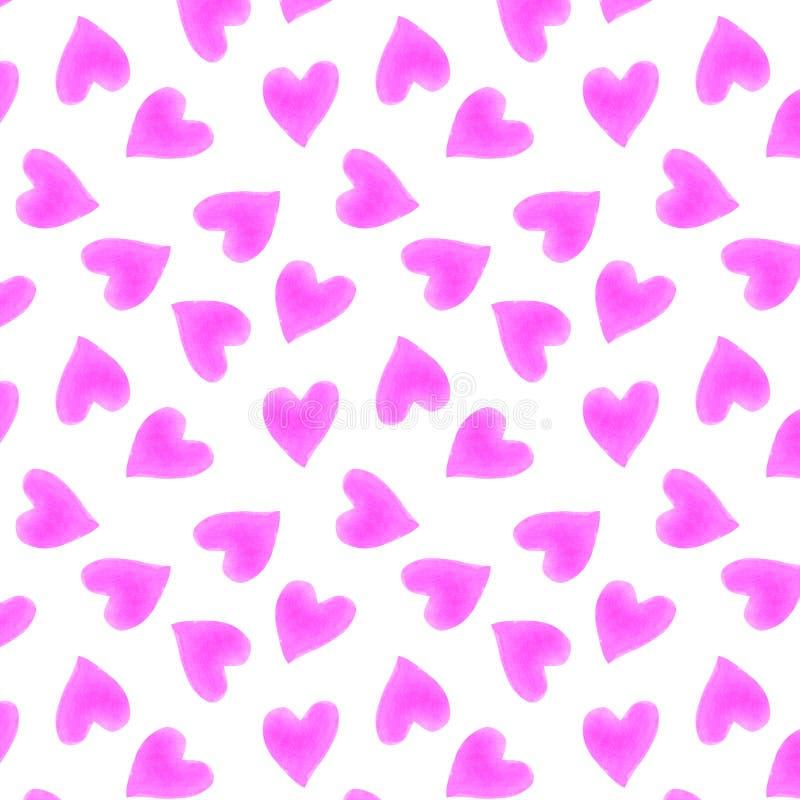Hand getrokken de silhouetten leuk in naadloos patroon van waterverfharten vector illustratie
