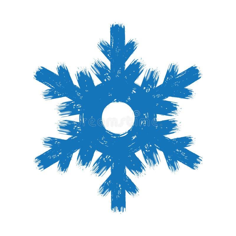 Hand getrokken de slagsneeuwvlok van de Nieuwjaar grunge blauwe borstel royalty-vrije illustratie