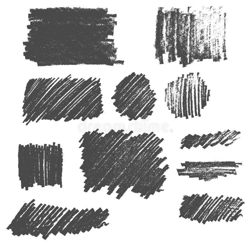 Hand getrokken de textuurgekrabbel vastgestelde eps10 van de potloodtekening royalty-vrije illustratie