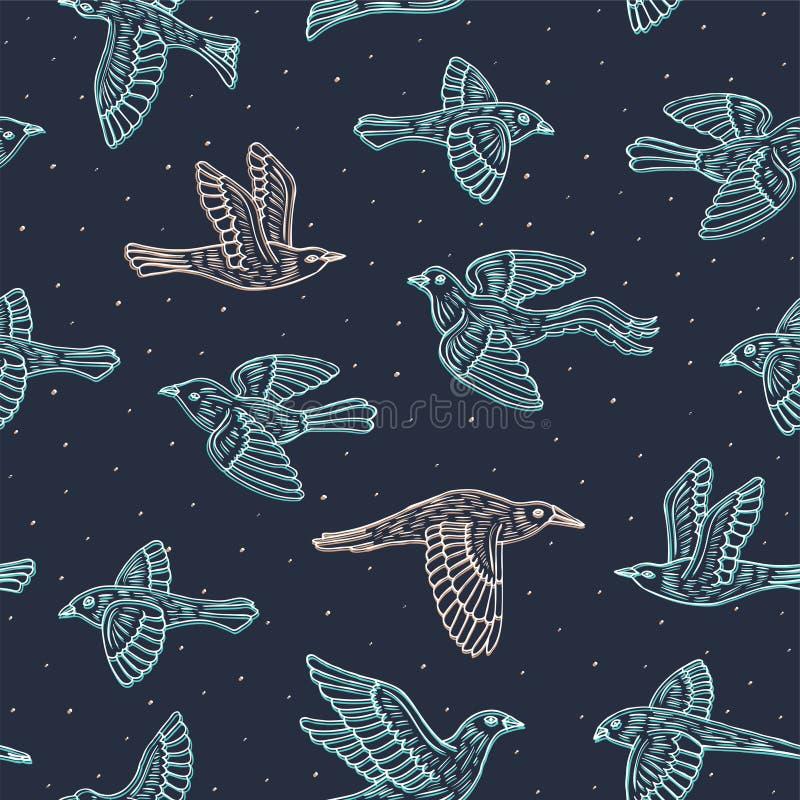 Hand getrokken decoratief vogels naadloos patroon Dierlijke vectorillustratie royalty-vrije illustratie