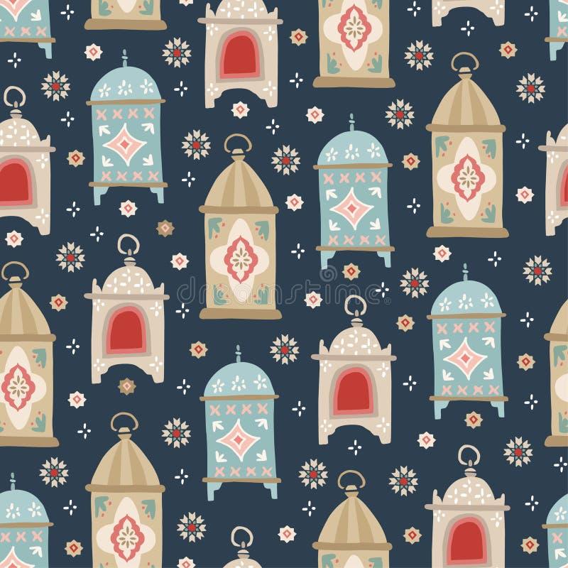 Hand getrokken decoratieve Arabische lantaarns en sterren Mooi estive naadloos patroon Groetkaart, uitnodiging voor Moslim royalty-vrije illustratie