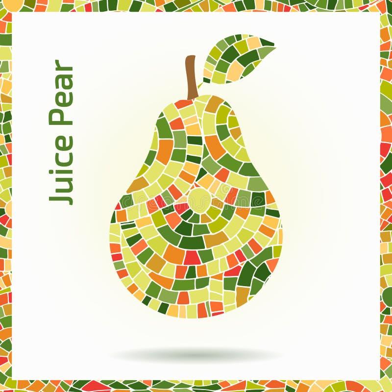 Hand getrokken decoratieve sierdiepeer van mozaïektextuur wordt gemaakt Vector abstracte illustratie van fruitembleem Groene en r stock illustratie