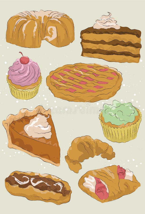 Hand getrokken dessertinzameling vector illustratie
