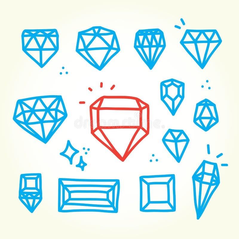 Hand getrokken diamanten stock illustratie
