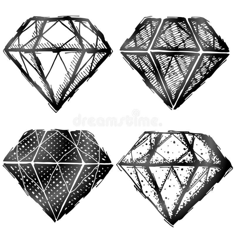 Hand getrokken diamantsymbool royalty-vrije illustratie