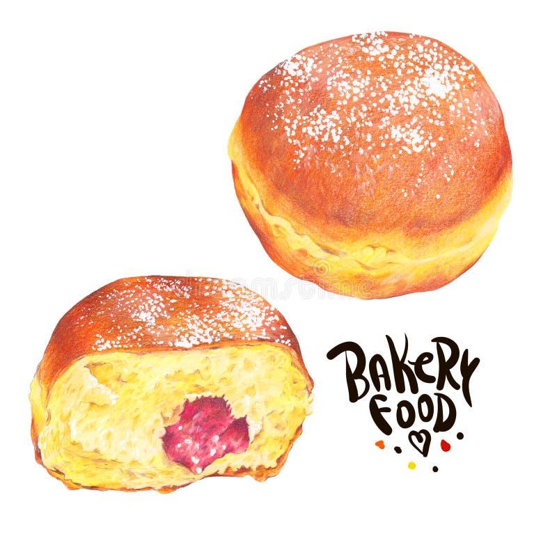 Hand getrokken die bakselreeks op een witte achtergrond wordt geïsoleerd, donuts Ber stock afbeelding
