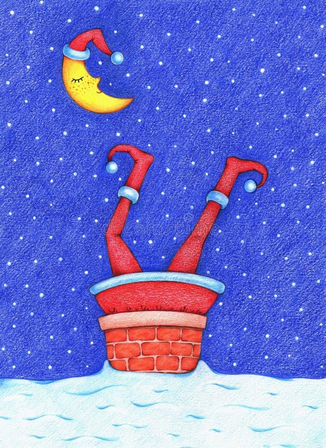 Hand getrokken die beeld van Santa Claus in schoorsteen in de sneeuwnacht wordt geplakt vector illustratie