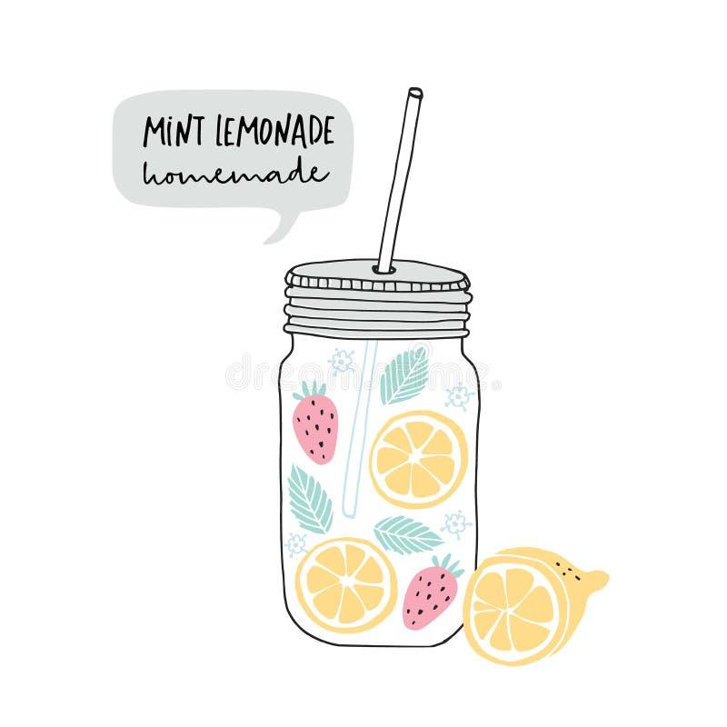 Hand getrokken die glaskruik met limonade van citroenplakken wordt gemaakt, aardbeifruit, munt en elderflower Toespraakbel met vector illustratie