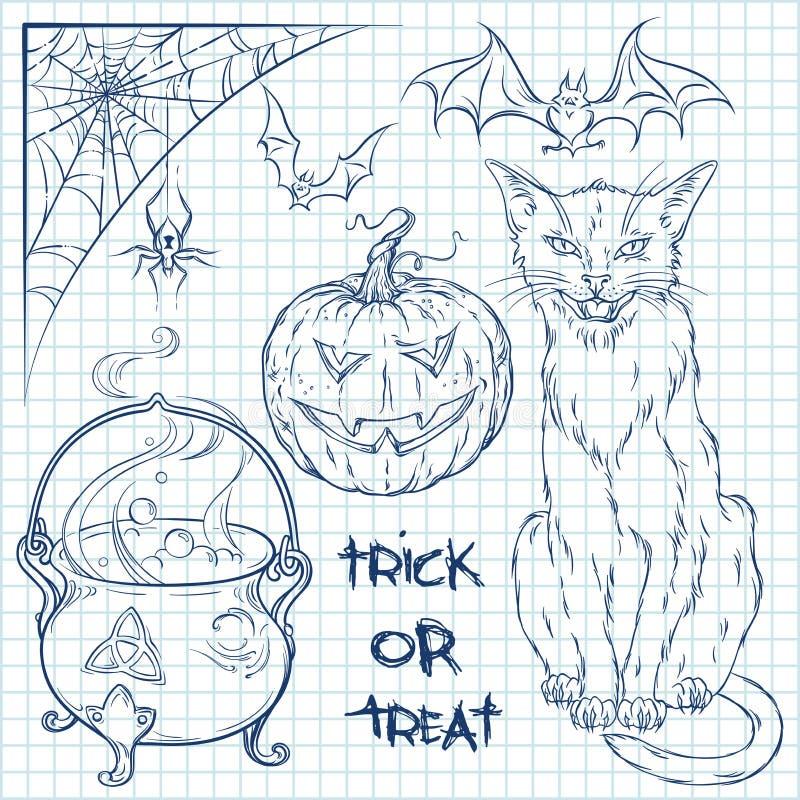 Hand getrokken die Halloween-krabbelsinzameling over geregelde document achtergrond wordt geplaatst Kat, ketel, spin, pompoen en  stock illustratie