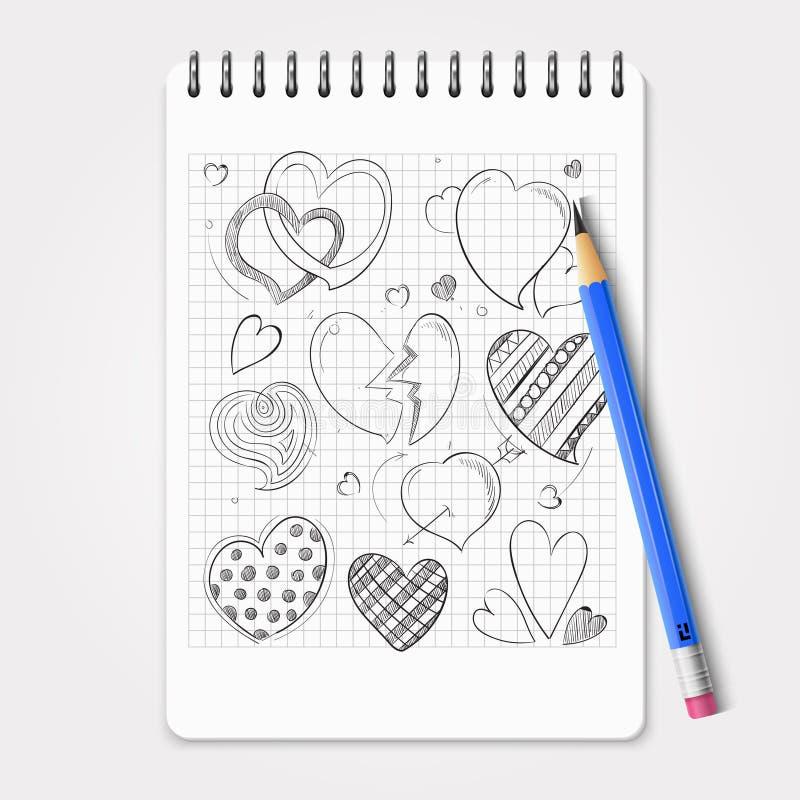 Hand getrokken die harten met realistisch potlood en notitieboekje worden geplaatst vector illustratie