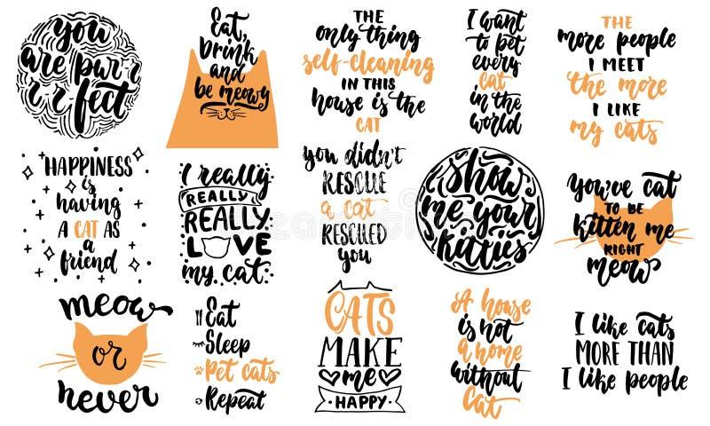 Hand getrokken die het van letters voorzien citaten over katteninzamelingen op de witte achtergrond worden geïsoleerd De inkt vec royalty-vrije illustratie